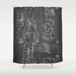 Nasa Apollo Spacesuite Patent - Nasa Astronaut Art - Black Chalkboard Shower Curtain