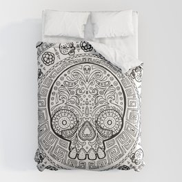 Skull mexican art from the Path to Mictlan Comforters