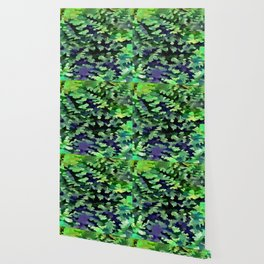 Foliage Abstract Camouflage In Forest Green and Black Wallpaper