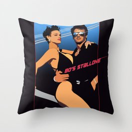 80s Stallone synthwave Throw Pillow