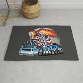 Patriotic American Flag Semi Truck Tractor Trailer Big Rig Cartoon Rug