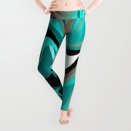 Liquify 2 - Brown, Turquoise, Teal, Black, White Leggings
