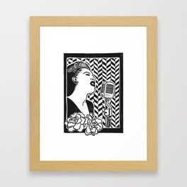 Lady Day (Billie Holiday block print blk) Framed Art Print