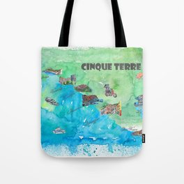 Cinque 5 Terre Italy Favorite Travel Map with touristic Top Ten Highlights Tote Bag