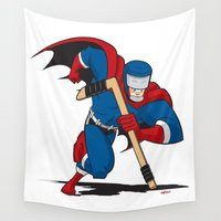 super hero Wall Tapestries featuring Super Hockey Hero by Granman