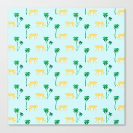 Animal Print Yellow Cheetah under Green Palm Trees on Muted Blue Background Canvas Print