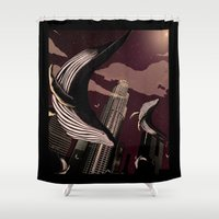 carnage Shower Curtains featuring Whale Carnage by Earnestly Elsewhere