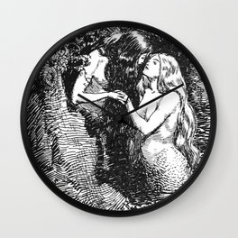 The Nymph Caught the Dryad in Her Arms - HR Millar (1904) Wall Clock