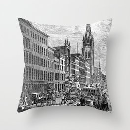 Broadway, New York. Looking up from exchange place 1800's Throw Pillow