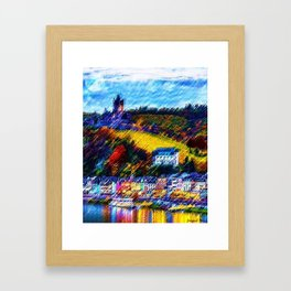 Storybook village of Cochem, Germany Landscape with castle along the river - Jéanpaul Ferro Framed Art Print