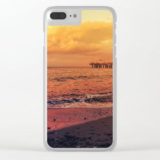 Sundown at the sea Clear iPhone Case