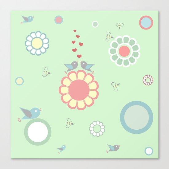 SWEET BIRDS ON GREEN (children) Canvas Print