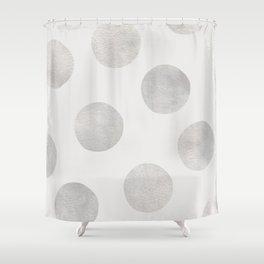 Silver Polka Dots Shower Curtain
