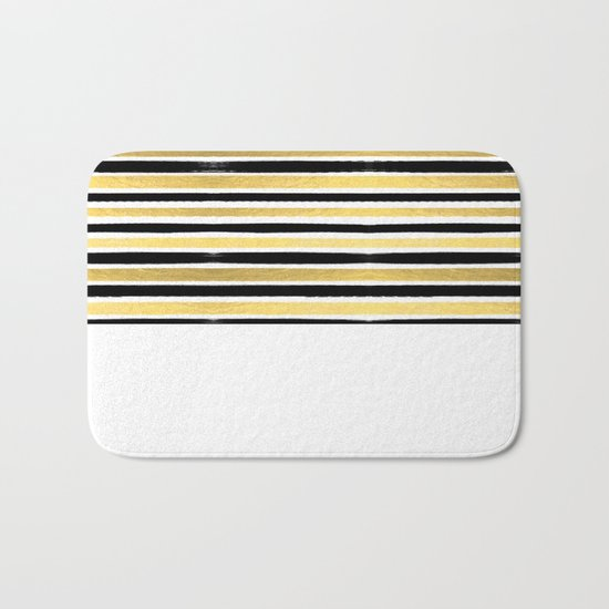 Black and white gold stripes modern brushstrokes minimal art print abstract painting gold foil Bath Mat