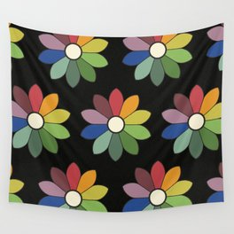 Flower pattern based on James Ward's Chromatic Circle (vintage wash) Wall Tapestry