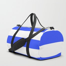 Even Horizontal Stripes, Blue and White, L Duffle Bag