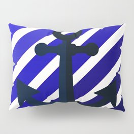 Anchor on blue lines Pillow Sham