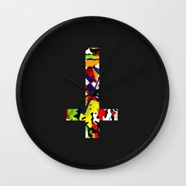 Slate black cross colours Wall Clock