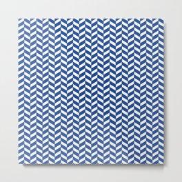 Noble Blue Herringbone Pattern Design Metal Print