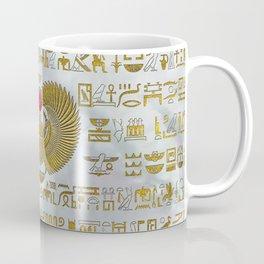 Egyptian Scarab Beetle Gold and Ruby Stone Coffee Mug