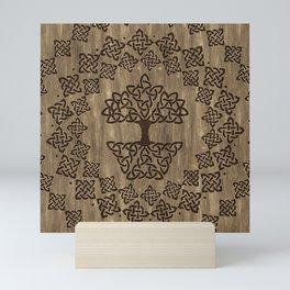 Triquetra - Tree of life -Wooden Texture Mini Art Print