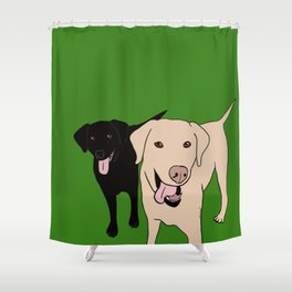 Tanner and Lily Best Labrador Buddies Shower Curtain