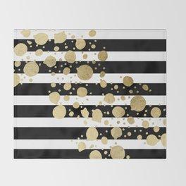 Faux Gold Paint Splatter on Black & White Stripes Throw Blanket