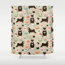 shiba inu sushi black and tan dog breed pet pattern dog mom Shower Curtain