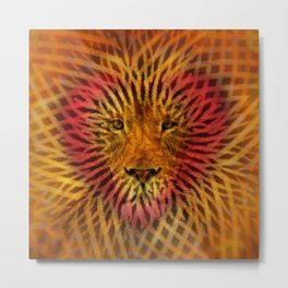 Abstract Design of a Lion with a Heart with Geometric Zebra Stripes Metal Print