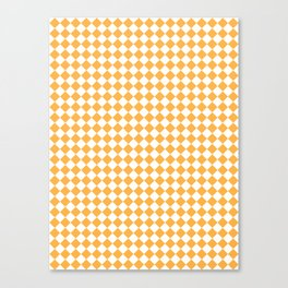 Small Diamonds - White and Pastel Orange Canvas Print