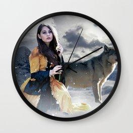 Gothic Princess & Wolf Wall Clock