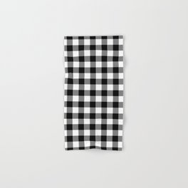 90's Buffalo Check Plaid in Black and White Hand & Bath Towel