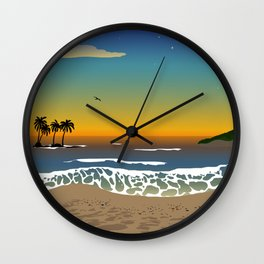 Sunset over the Ocean Wall Clock