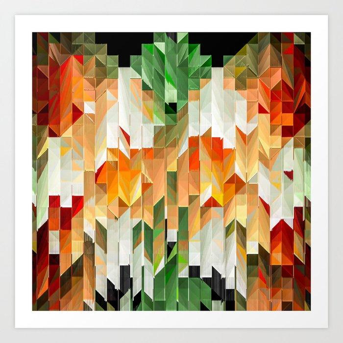 Geometric Tiled Orange Green Abstract Design Art Print