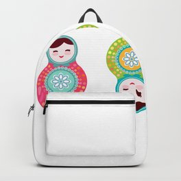 dolls matryoshka, pink and blue colors Backpack