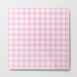 Blush pink white gingham 80s classic picnic pattern Metal Print
