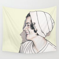harry styles Wall Tapestries featuring Harry Styles by Cécile Pellerin