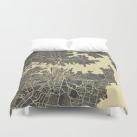 sydney Duvet Covers featuring Sydney map by Map Map Maps
