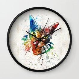 Colorful Cat Art by Sharon Cummings Wall Clock