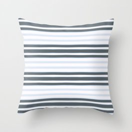 Light Baby Blue and white grey stripes Throw Pillow