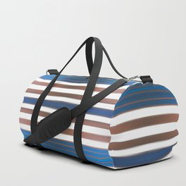Abstract Stripes in browns and blues on white. Duffle Bag