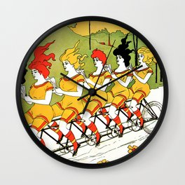 Vintage art Nouveau funny girls on a tandem bicycle Wall Clock