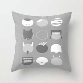 Old School Minimalist Movie Monsters Throw Pillow