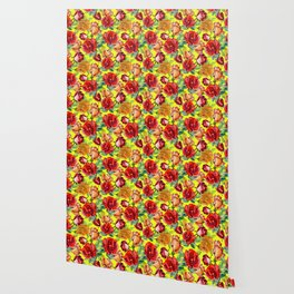 Botanical red orange yellow hand painted roses pattern Wallpaper