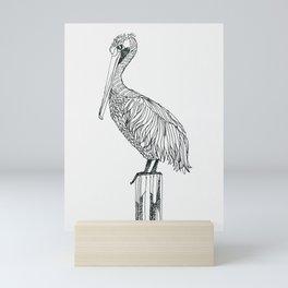 Perched Pelican Mini Art Print