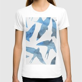 Watercolor birds - sapphire ink T-shirt