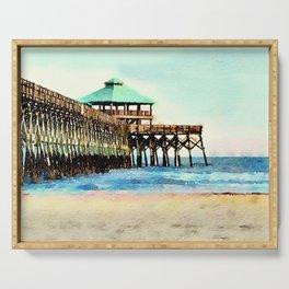 Folly Beach Pier - Folly Beach, SC - Charleston South Carolina Serving Tray