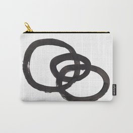 'And I Op' Minimalist Ink Line Drawing Abstract Black Brush Strokes Modern Funky Maze by Ejaaz Haniff  Carry-All Pouch