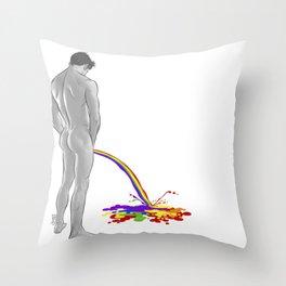 Rainbow pee Throw Pillow
