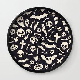 Halloween Symbols Pattern Contrast Wall Clock